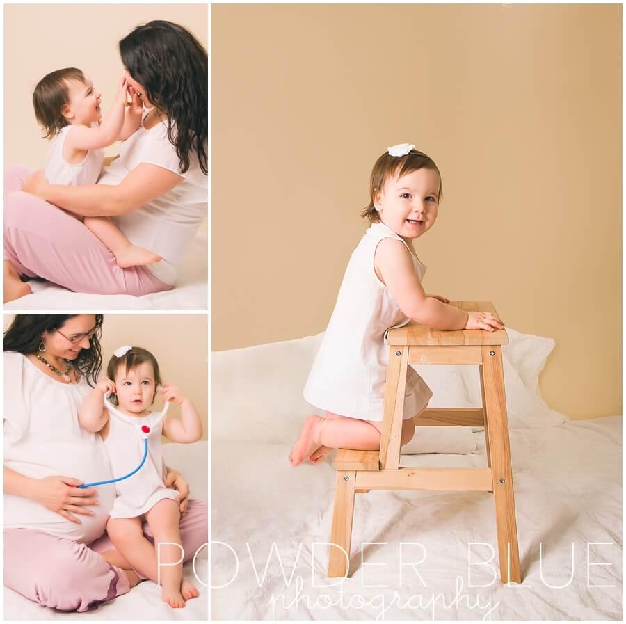 studio maternity portrait eggnog background
