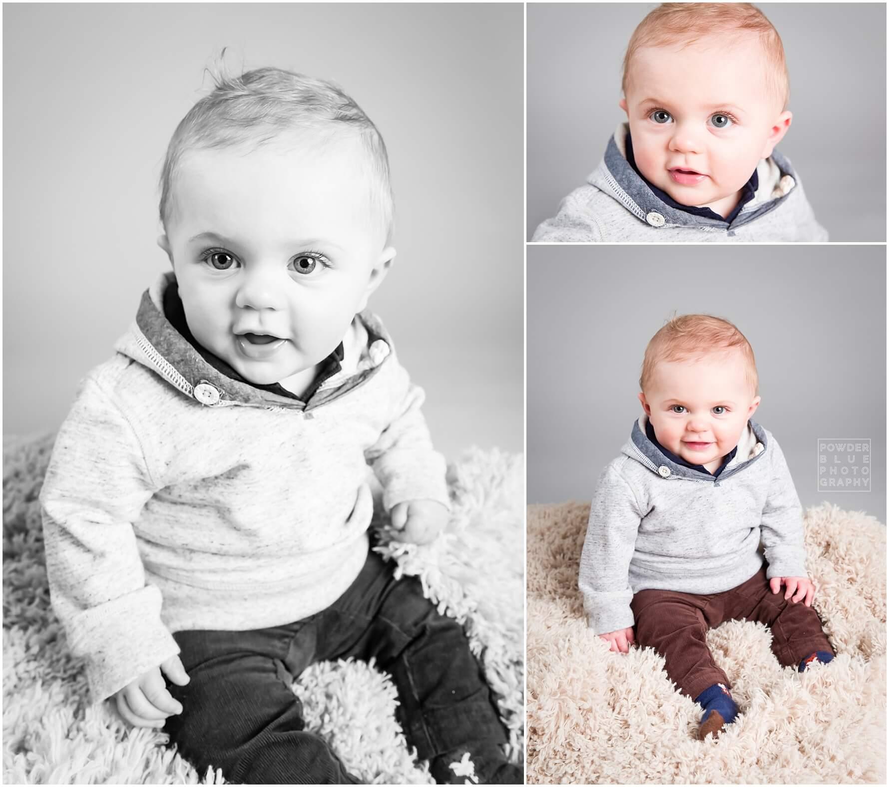 baby portrait in studio seamless savage backdrop grey