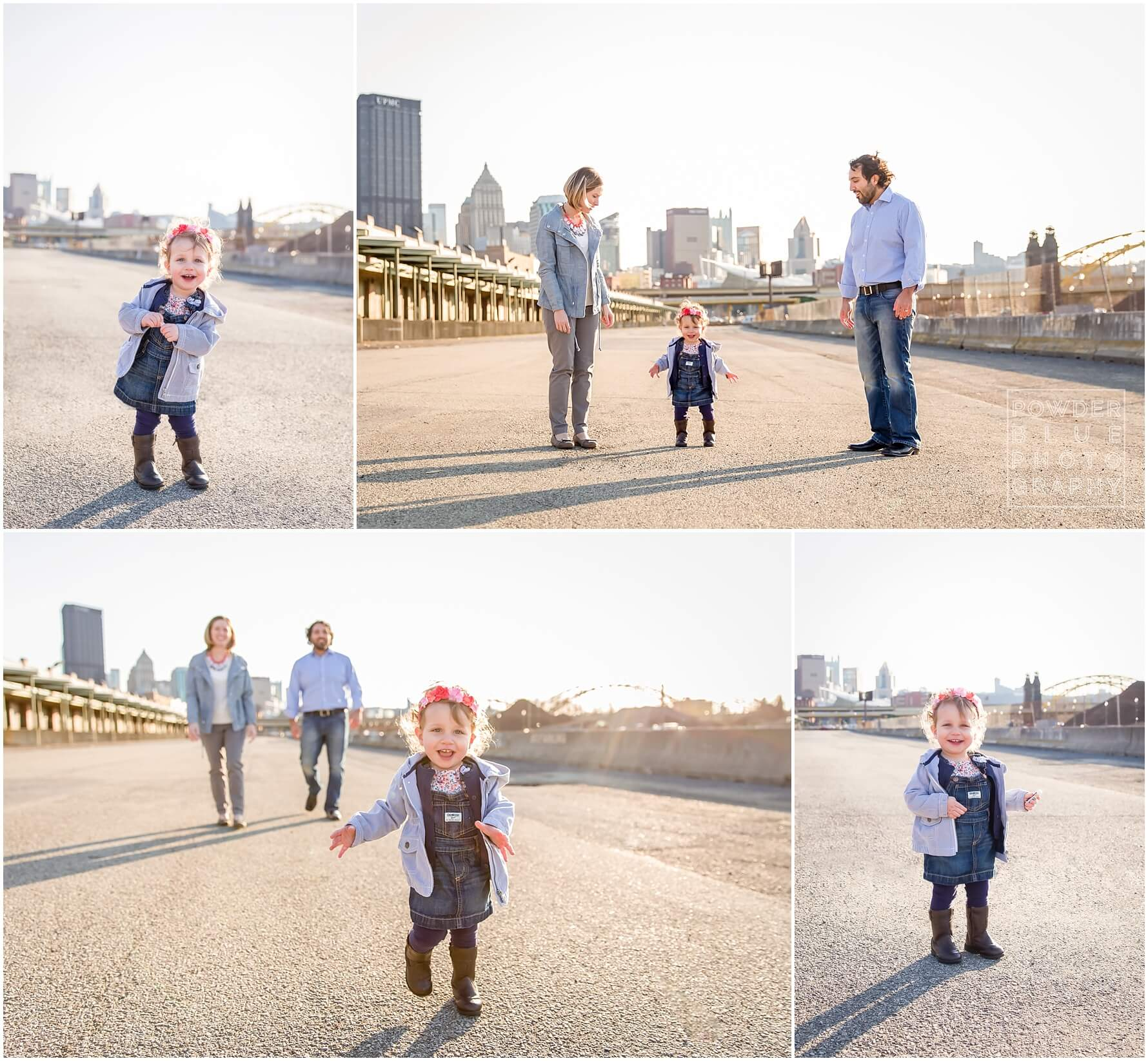 one year old outdoor portrait urban backdrop pittsburgh pennsylvania strip district