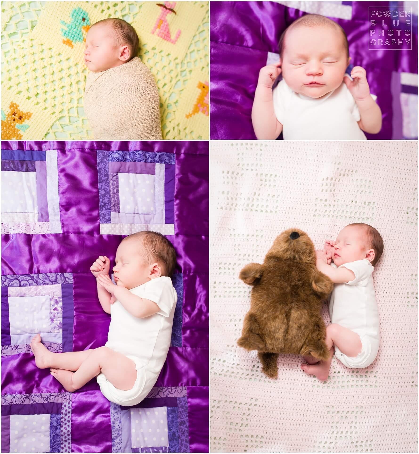 lifestyle newborn session in home colorful blankets pittsburgh