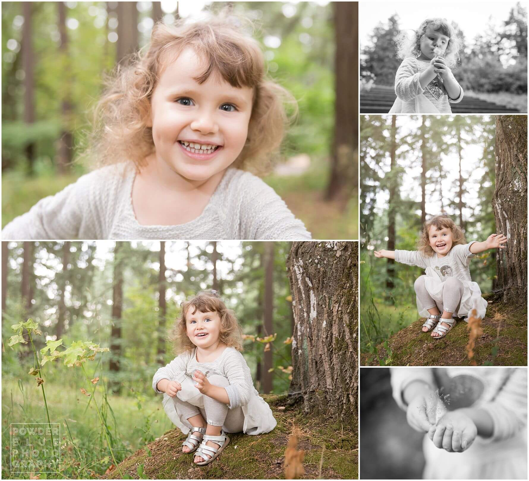 pittsburgh family photography family session at mt tabor park in portland oregon pine trees 3 year old girl butterfly wings