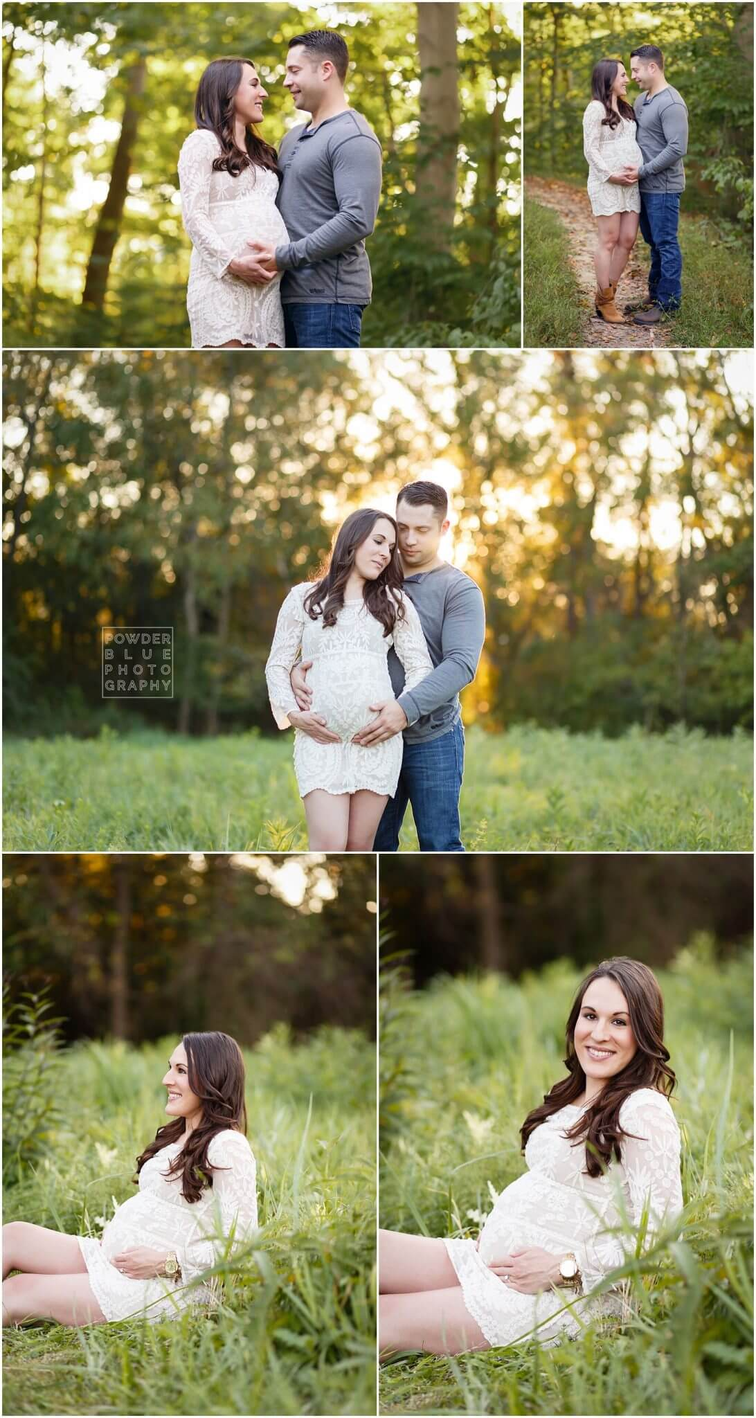 pittsburgh on location maternity session with woman in white lace dress at 33 weeks pregnant. South Hills Pittsburgh Maternity Photographer Missy Timko at Powder Blue Photography.