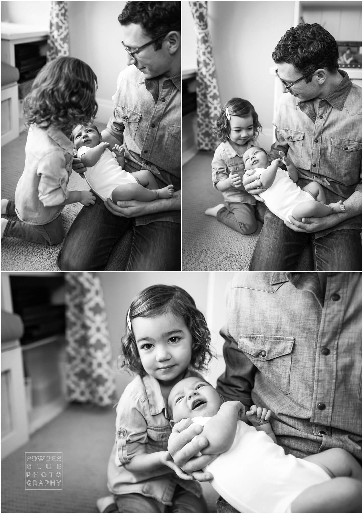 black and white lifestyle newborn session images of newborn baby boy with two year old sister. in home lifestyle newborn session at shady side home in pittsburgh. in home lifestyle session using canon 600 ex-rt speedlites.