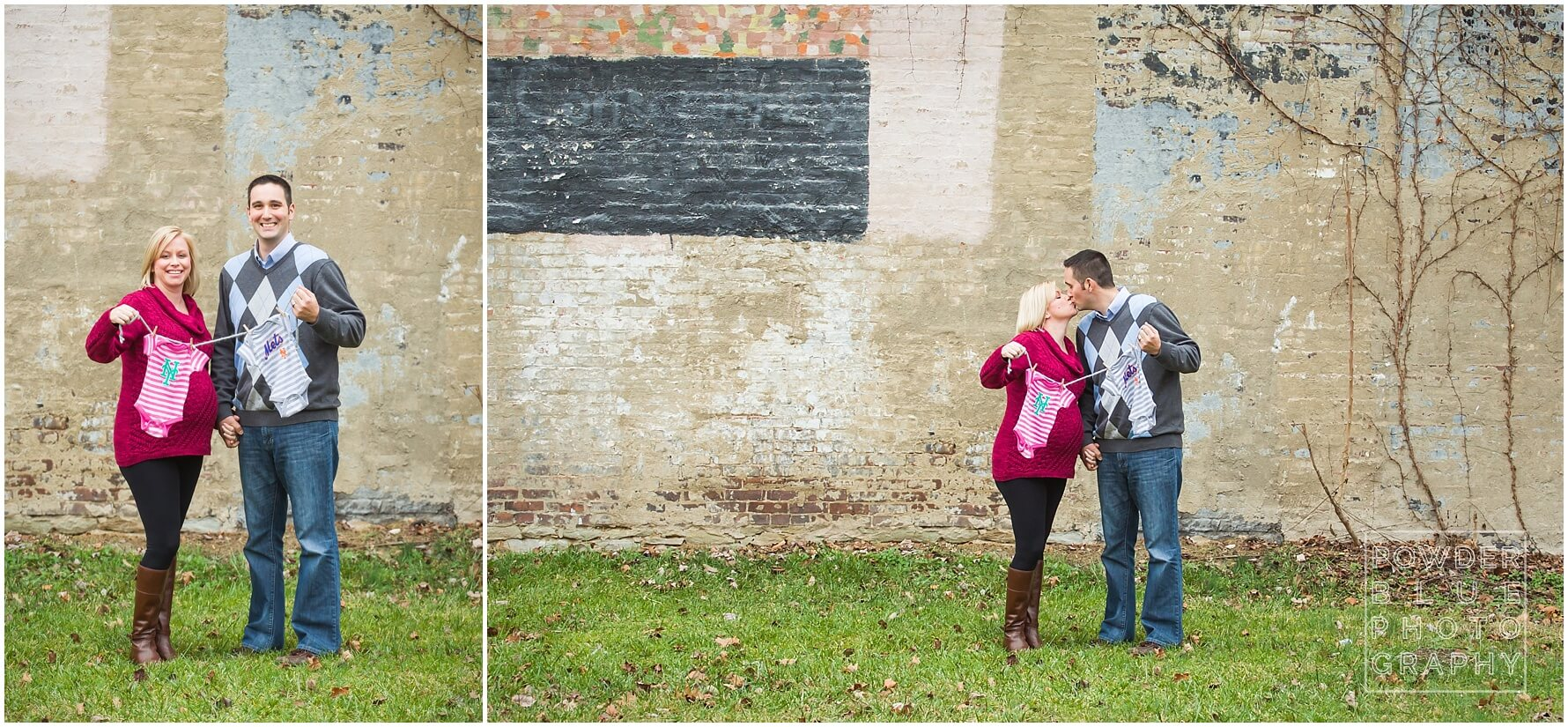 couple expecting boy girl twins holding up sports-themed mets onesies on a clothesline. twin pregnancy maternity session images. pittsburgh maternity photographer powder blue photography.