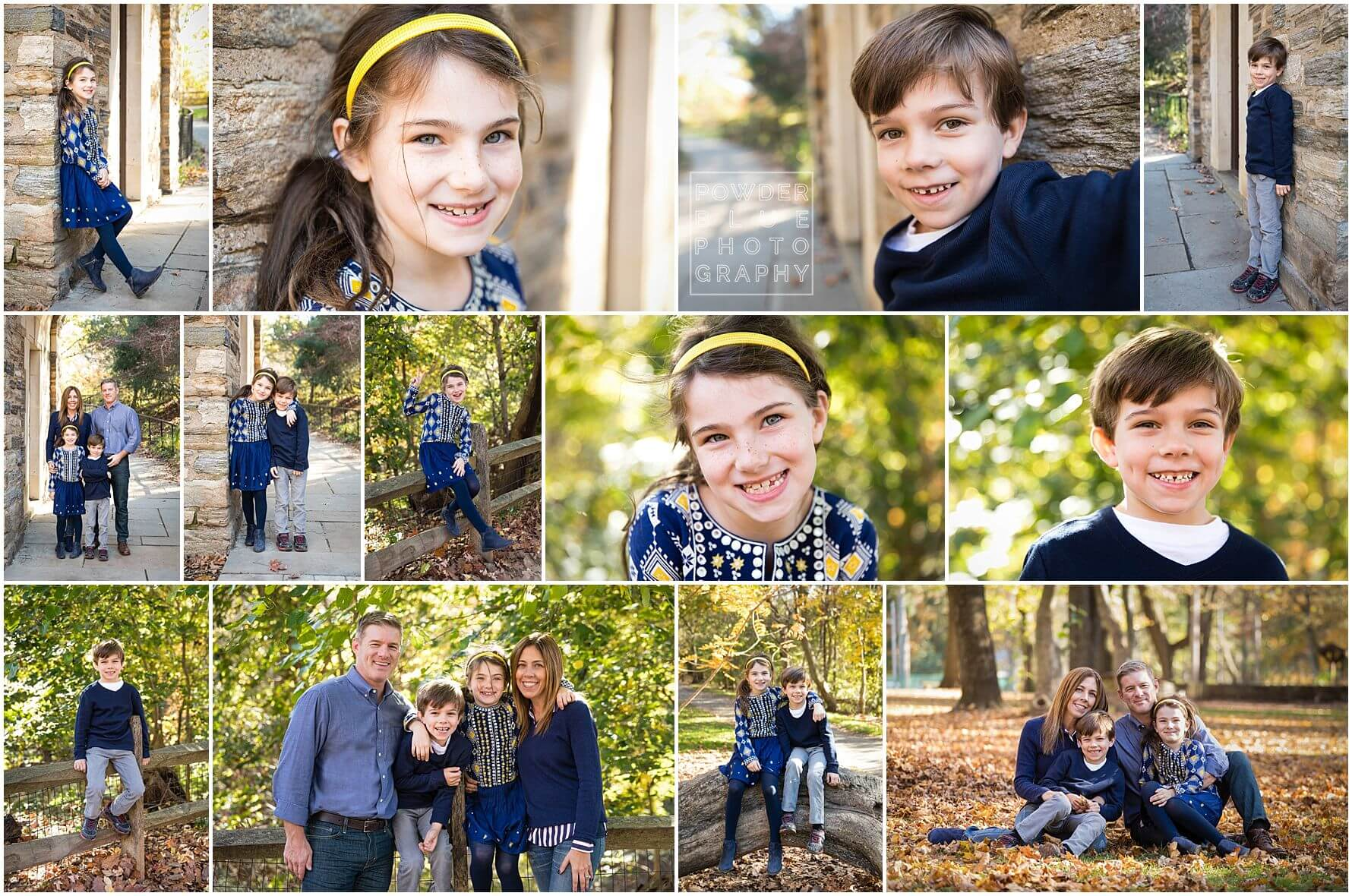 pittsburgh family photographer fall mini sessions in pittsburgh, pa at frick park with green and yellow fall leaves