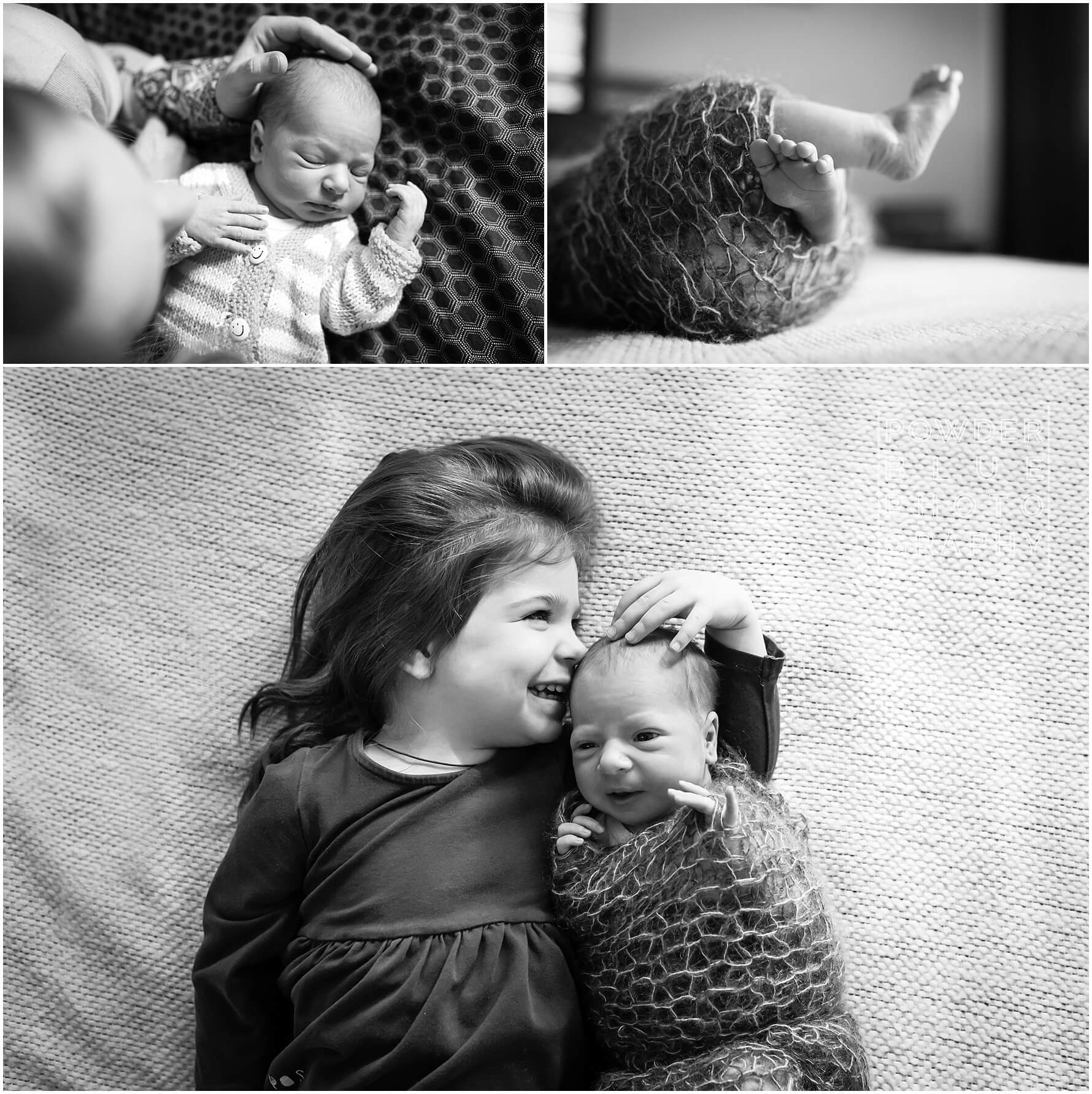 black and white lifestyle newborn portraits