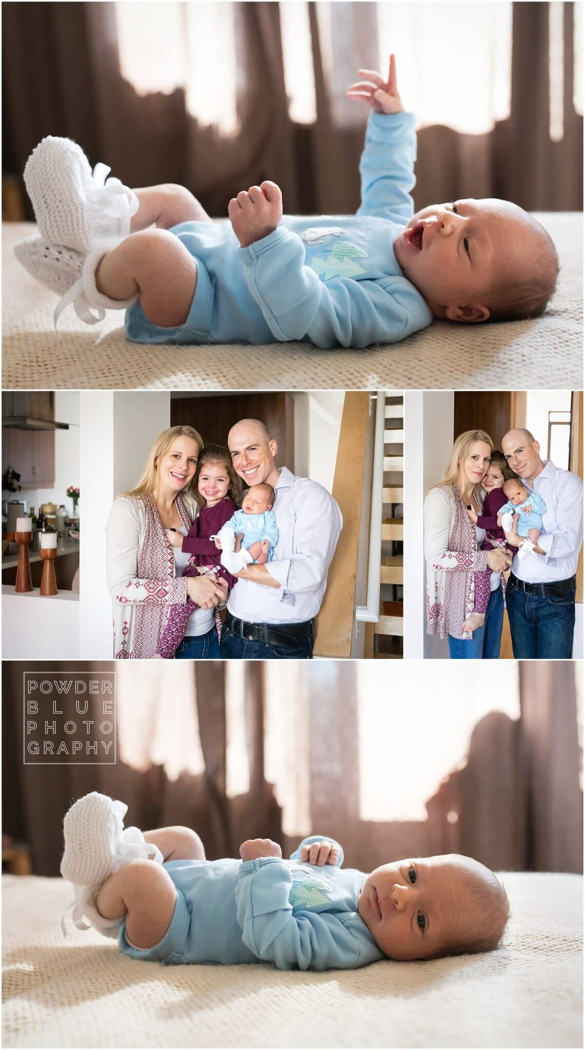 newborn lifestyle photography pittsburgh. baby in blue onesie on a bed.