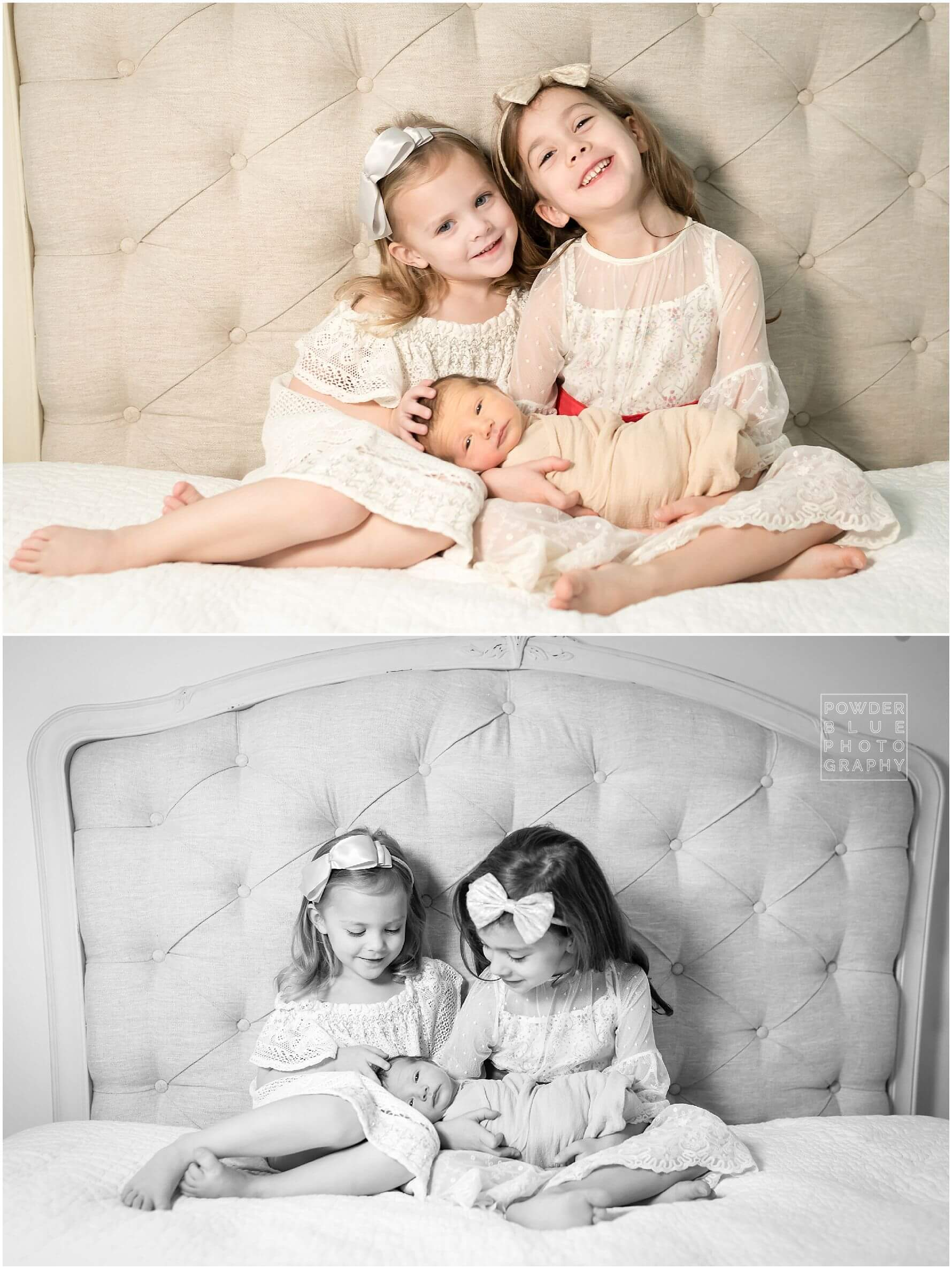 two sisters with their newborn baby brother by Missy Timko, who photographs pittsburgh's newborn babies.