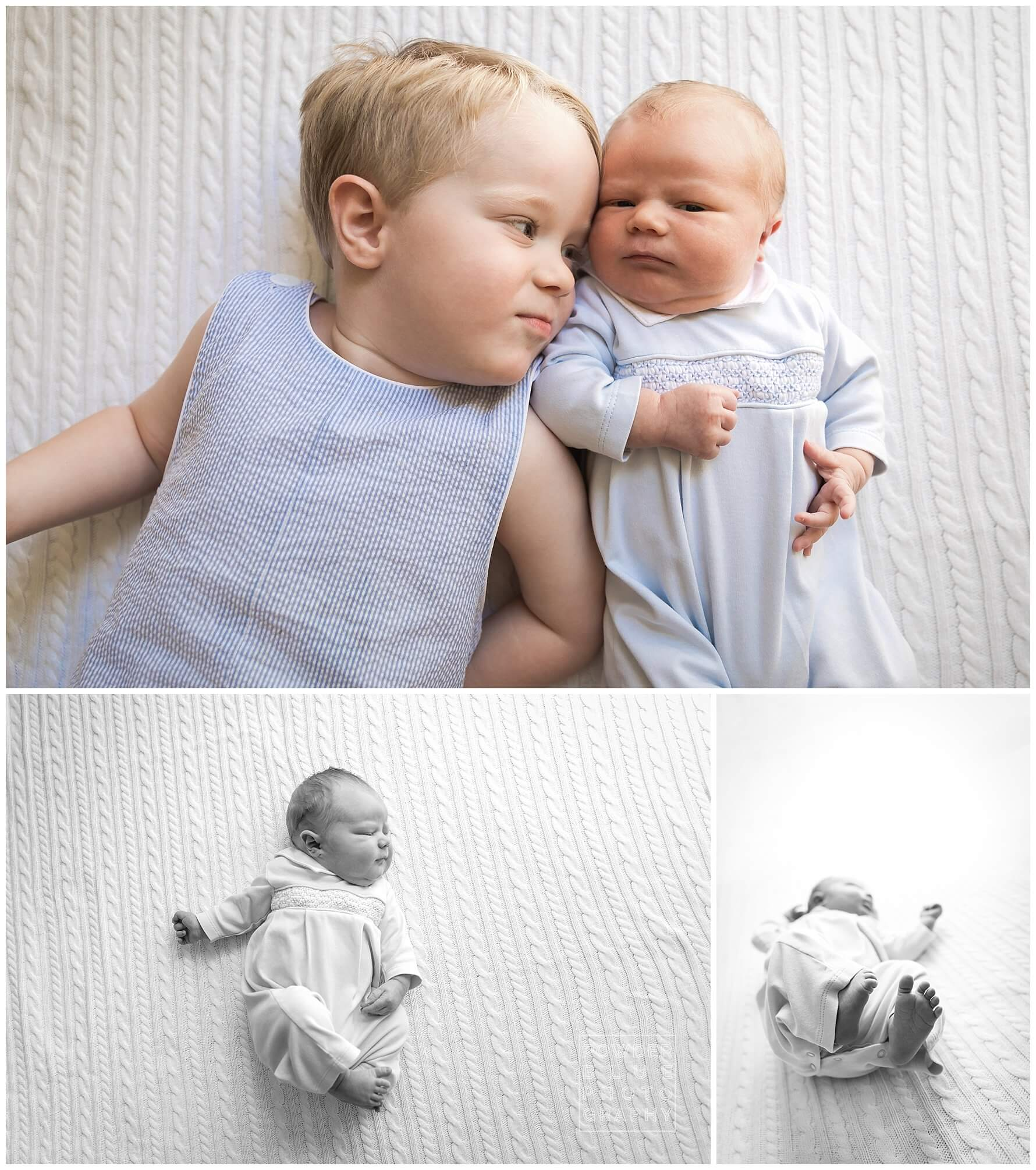 newborn, blue and white, brothers