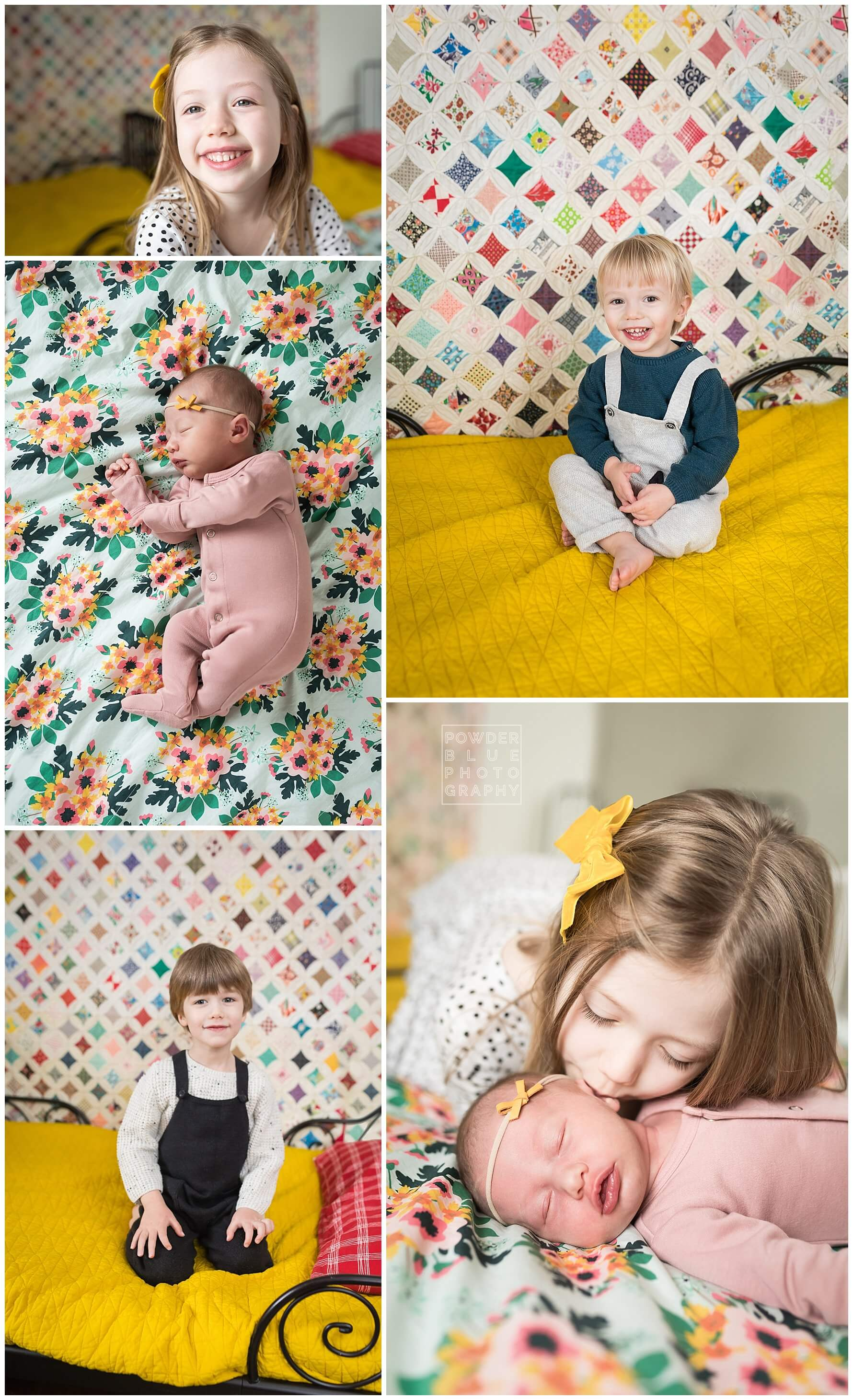 pittsburgh newborn photography session with a lot of color and patterns. rose blanket, mustard blanket.