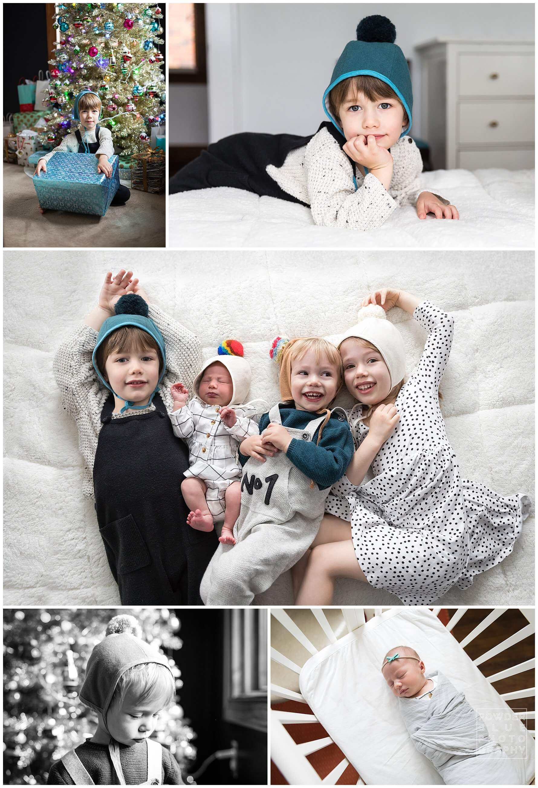 pittsburgh newborn photography session with four kids. pom bonnets.